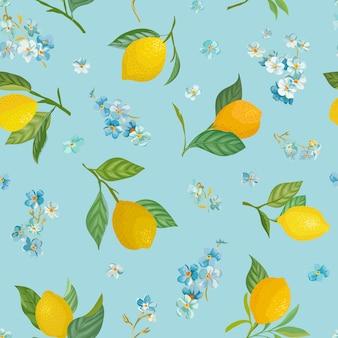Padrão de limão sem costura com frutas tropicais, folhas, me esqueça, não fundo de flores. mão desenhada ilustração vetorial em estilo aquarela para capa romântica de verão, papel de parede tropical, textura vintage