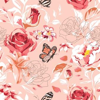 Padrão de linda primavera sem costura com rosas, peônia, orquídea e suculentas