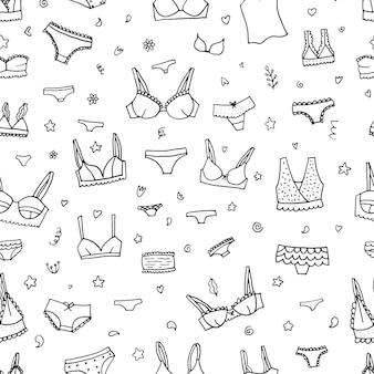 Padrão de lingerie sem costura. projeto do fundo do vetor roupa interior.