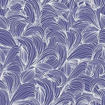 Padrão de linha sem costura desenho a lápis de folhas abstratas de padrão botânico linear
