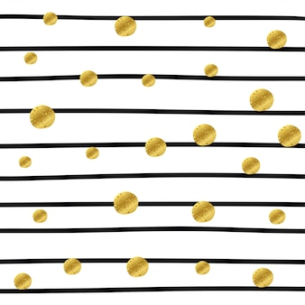 Padrão de listra com pontos dourados