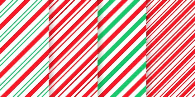 Padrão de listra de bastão de doces. textura de natal perfeita. papel de embrulho de hortelã-pimenta verde vermelha.