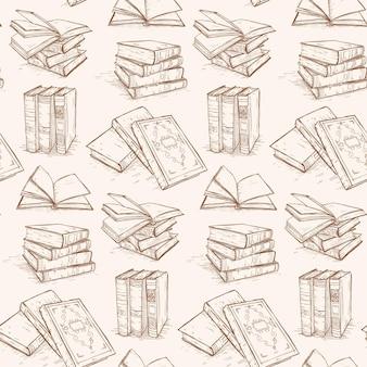 Padrão de livros antigos, coleção de livros retrô, scketch desenhado à mão