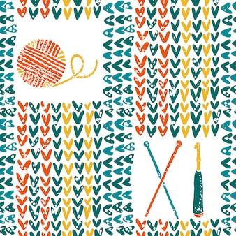 Padrão de malha com agulhas, crochê e fios