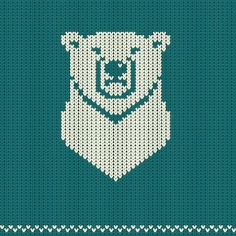 Padrão de malha com urso polar. suéter de férias
