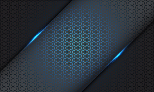 Padrão de malha de hexágono azul abstrato barra de luz cinza sobre fundo cinza de tecnologia futurista moderna