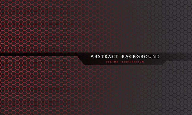 Padrão de malha de hexágono vermelho abstrato em cinza com polígono de linha preta e fundo futurista de texto.