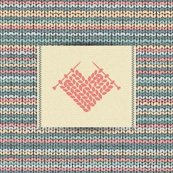 Padrão de malha de lã com bordado de coração