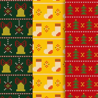 Padrão de malha de natal com meias e sinos