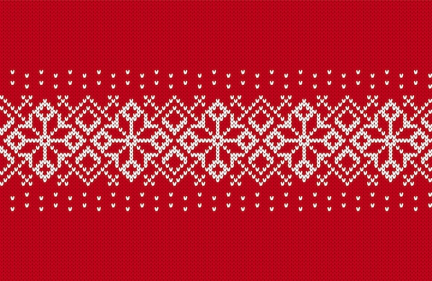 Padrão de malha de natal. fronteira sem costura vermelha. textura de malha. plano de fundo de natal. impressão da ilha de férias