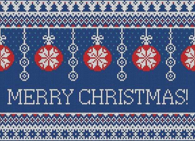 Padrão de malha sem costura de vetor feliz natal e ano novo com flocos de neve para o estilo escandinavo