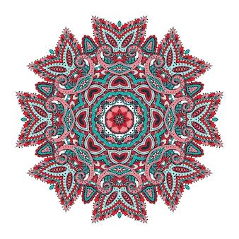 Padrão de mandala colorida de elementos florais de henna com base em ornamentos asiáticos tradicionais.