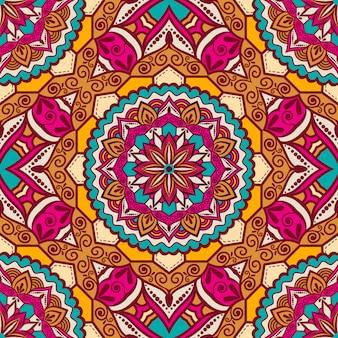 Padrão de mandala colorida desenho geométrico sem costura brilhante