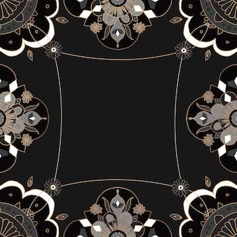 Padrão de mandala com moldura dourada botânica preta estilo indiano