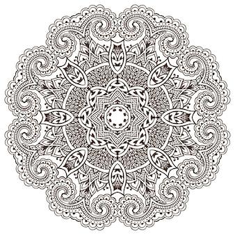 Padrão de mandala de elementos florais de henna com base em ornamentos asiáticos tradicionais. ilustração de tatuagem de paisley mehndi