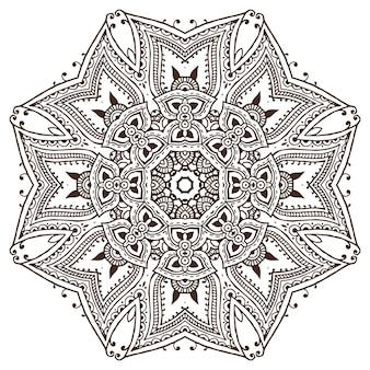 Padrão de mandala de elementos florais de henna com base em ornamentos asiáticos tradicionais. paisley mehndi