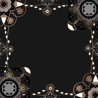 Padrão de mandala dourado com moldura preta floral estilo indiano