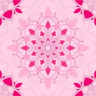 Padrão de mandala em fundo rosa