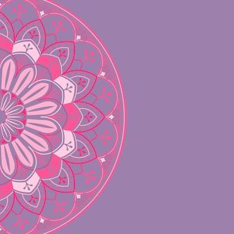 Padrão de mandala rosa no fundo roxo