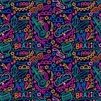 Padrão de mão desenhada carnaval brasileiro colorido