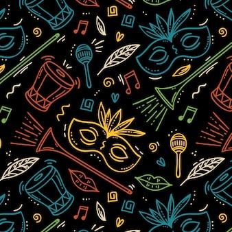 Padrão de mão desenhada carnaval brasileiro com máscaras e instrumentos musicais