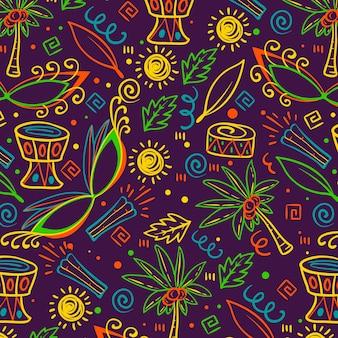 Padrão de mão desenhada carnaval brasileiro