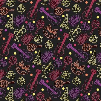 Padrão de mão desenhada carnaval colorido sobre fundo escuro