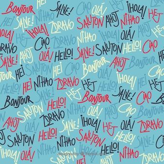 Padrão de mão desenhada com olá, palavra em diferentes idiomas