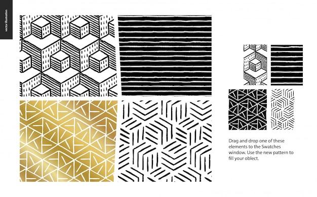 Padrão de mão desenhada em preto, ouro e branco com linhas geométricas, pontos e formas