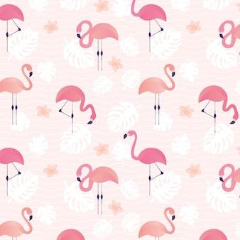 Padrão de mão desenhada flamingo