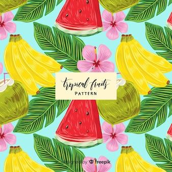 Padrão de mão desenhada fruta tropical realista