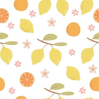 Padrão de mão desenhada frutas cítricas
