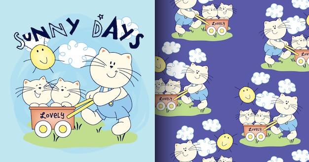 Padrão de mão desenhada gato fofo e cartão