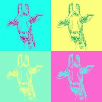 Padrão de mão desenhada gira girafa pop art. esboço da cabeça facial de girafa