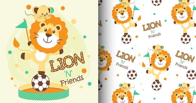 Padrão de mão desenhada leão fofo e cartão