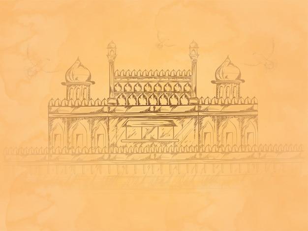 Padrão de mão desenhada monumento indiano red fort