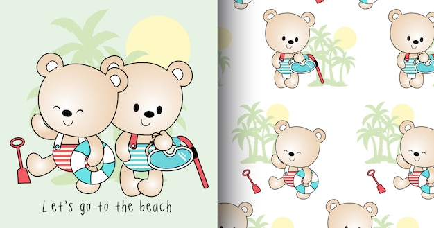 Padrão de mão desenhada urso fofo e cartão