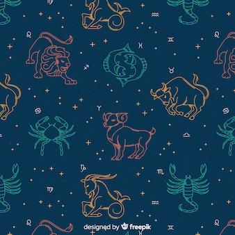 Padrão de mão desenhada zodíaco