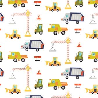 Padrão de máquina de construção com guindaste, caminhão, trator. papel digital do berçário, ilustração vetorial desenhada à mão Vetor Premium