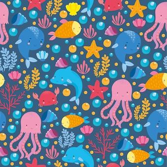 Padrão de mar com animais fofos