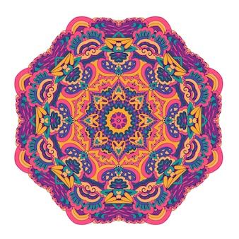 Padrão de medalhão decorativo colorido abstrato mandala de boho vetorial com flores