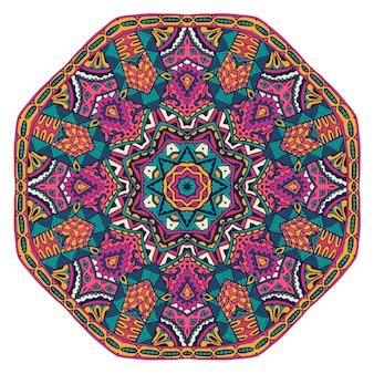 Padrão de medalhão decorativo colorido abstrato mandala de boho vetorial com padrões florais