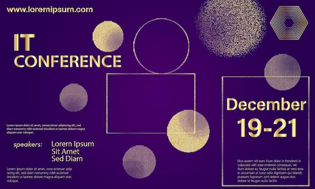 Padrão de meio-tom dourado. design de conferência