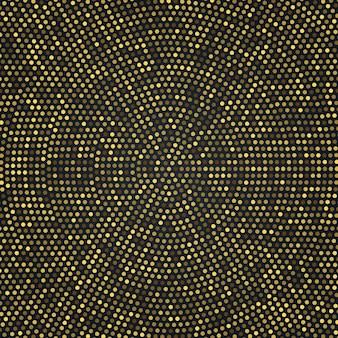 Padrão de meio-tom dourado radial, fundo luxuoso de ouro