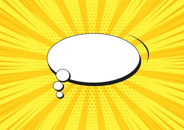 Padrão de meio-tom pop art. fundo starburst em quadrinhos com bolha do discurso. textura amarela duotônica