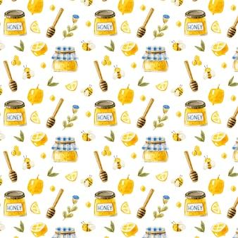 Padrão de mel sem costura com potes de mel, abelhas, favos de mel, limão, padrão, comida doce