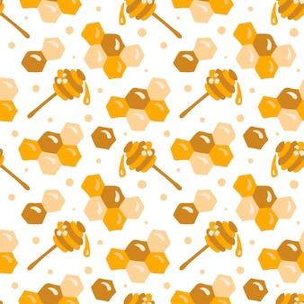 Padrão de mel sem emenda do vetor bebê escandinavo criança. favo de mel, símbolo da concha de mel, hexágono em estilo vetorial plana