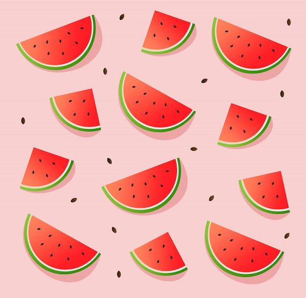 Padrão de melancia, banner de verão, conjunto de melancia, fundo rosa