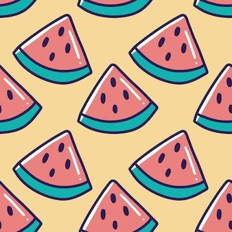 Padrão de melancia doodle com ícones e elementos de design