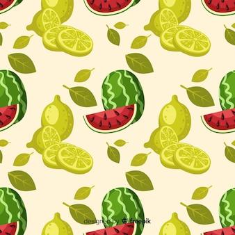 Padrão de melancia e limas de mão desenhada